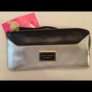 NWT Betsey Johnson black & silver wristlet